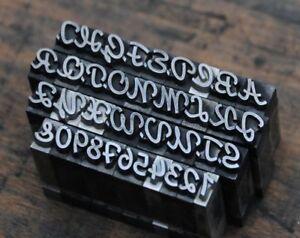 Alphabet Bleilettern Vintage Stempel Lettern Initiale Druckbuchstabe shabby alt