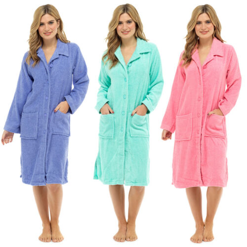 Womens Terry Towelling Zip   Button Through Dressing Gown Bath Robe ... dee504fb7