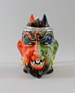 Ens Figurine Porcellana Boccale birra Diavolo verde/rosso H17,5cm 9997989#