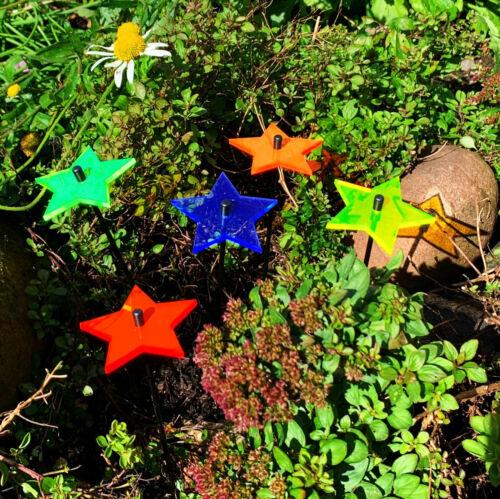 5x Leuchtender Deko Gartenstecker Solar Lichtfänger 6cm Sonnenfänger Sterne