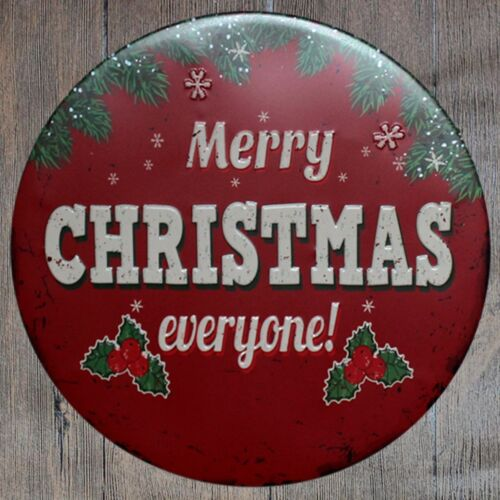 Metal Tin Sign round merry christmas decor Bar Pub Retro Poster 30cm diameter