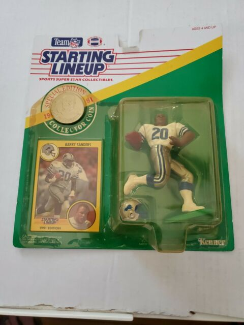 1991 Barry Sanders Starting Lineup figure NFL Detroit Lions Coin & Card