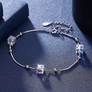 Echte-925-Silber-Armkette-Sterlingsilber-Armband-Crystal-SWAROVSKI-Elements