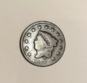 1827 Coronet Head Large Cent Penny; Old Currency; US Coins; Silver Coins