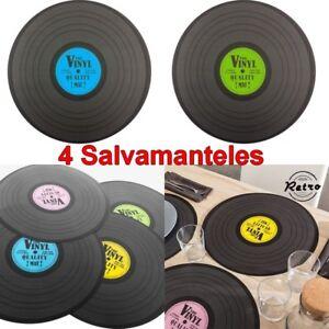 Detalles De Set 4 Salvamanteles Discos De Vinilo Retro Vintage Diámetro 39 Cm Decoracion