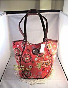 Longaberger-PRETTY-IN-PINK-Fabric-Side-Pocket-Tote-Bag-Purse-Retired-New-w-Tag