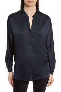Vince. Band Collar Silk Blouse COASTAL BLUE Top size S 172831