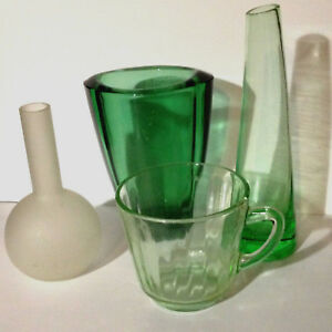 Lot-of-4-Vintage-Mid-Century-Various-Art-Glass-Items