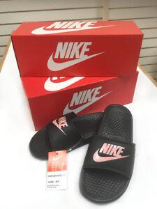 Details about Nike Women's Benassi JDI Flip Flops BlackRose Gold Slides Sandals SZ 5 12