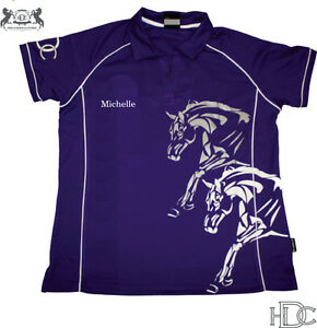 HEELS-DOWN-CLOTHING-PERSONALISED-COOLDRI-POLO-YOUR-NAME-AND-HORSES-NAME