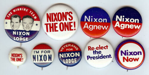 1960 - 1972 RICHARD NIXON CAMPAIGN BUTTON GROUP OF 9 DIFFERENT - B