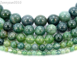 Natural-Green-Moss-Agate-Gemstone-Round-Beads-15-039-039-Strand-4mm-6mm-8mm-10mm-12mm