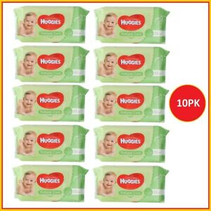 10 x Huggies Baby Wipes Natural Care Sticky Top Pk56 (560 Wipes)