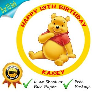 Winnie The Pooh Cake Topper Personalised Round Edible Birthday Cake