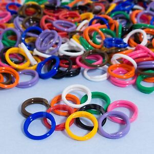 "20 Pack Spiral Chicken Poultry Leg Bands Rings - #11 11/16"" size - Mixed Colors"