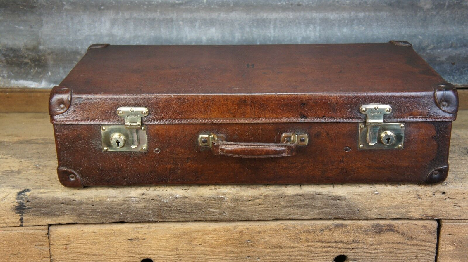 Large Vintage Cuir valise par MOYNAT Paris