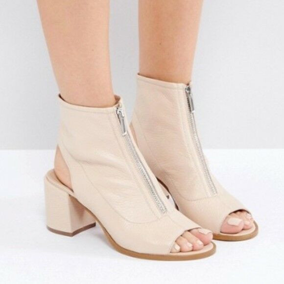 Asos botas Zapato de Cremallera Cuero Frambuesa desnuda