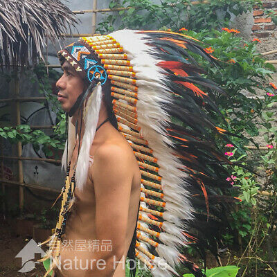 Feather Headdress Chief Indian Headdress American Native Warbonnet Feather Hat M