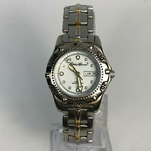 Eddie Bauer Sport Womens 3759 Two Tone Stainless Steel Day Date Bracelet Watch