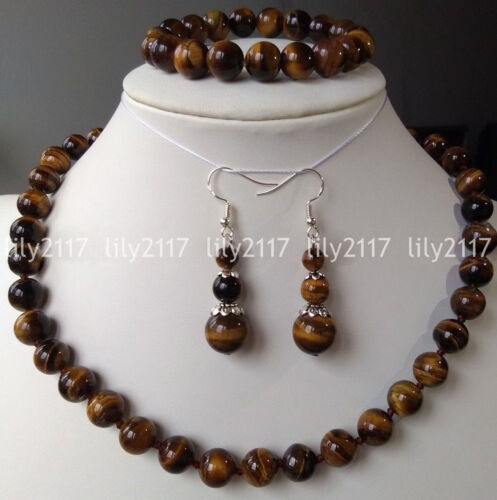 Natural 8//10//12mm African Tiger Eye Gems Round Beads Necklace Bracelet Earrings