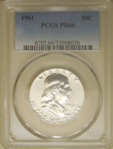 1961-PCGS-PR-66-Franklin-half-dollar-proof-GEM-silver-Blast-White