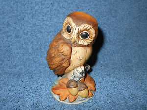 "ANDREA BY SADEK PORCELAIN CERAMIC 3 3/4"" BABY OWL FIGURINE W/ OAK LEAVES & ACORN"