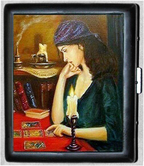 Gypsy Tarot Reading  Black Metal Wallet Cigarette Case #1379