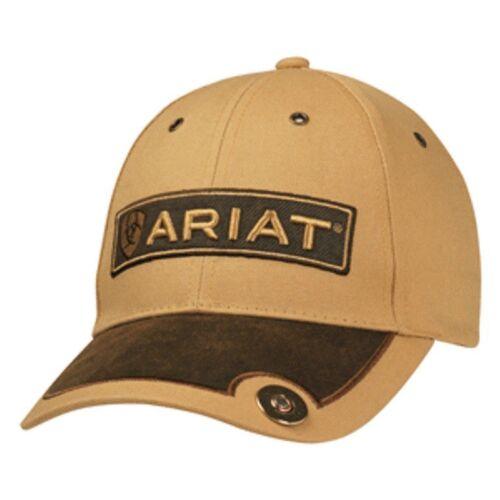 Ariat Men Hat Baseball Cap Back Snap Back Logo Shell Concho Tan Brown 1501308