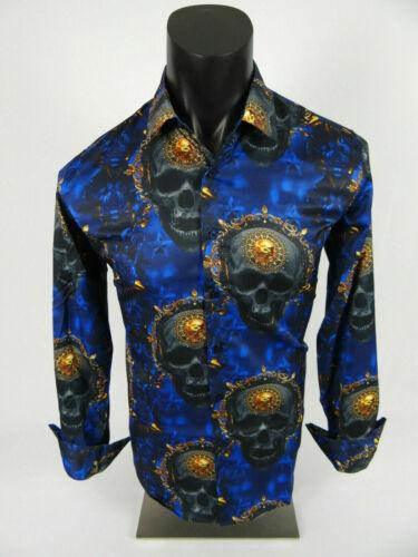 Mens Casual Shirt Blue Black Gold Skull Floral Designed Stretch Button Up