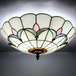 Mission antique 2 light tiffany art glass flush mount ceiling light image is loading mission antique 2 light tiffany art glass flush aloadofball Image collections