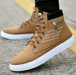 retro mens lace up high top trainers boots casual canvas