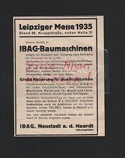 NEUSTADT a. d. HAARDT, Werbung 1935, IBAG-Baumaschinen