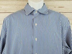 Polo-Ralph-Lauren-Blue-Striped-Button-Front-Long-Sleeve-Shirt-Mens-Size-XL-EUC
