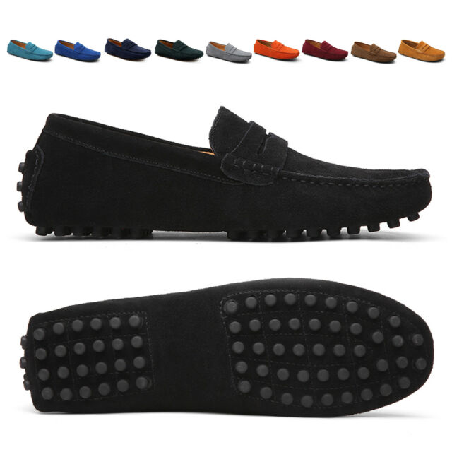 7f121151 Men's Comfortable Driving Loafers Suede Leather Moccasins Slip On Penny  Shoes