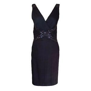 Tadashi-Collection-Blue-Sequin-V-Neck-Formal-Party-Dress-100-Silk-Women-s-Sz-6