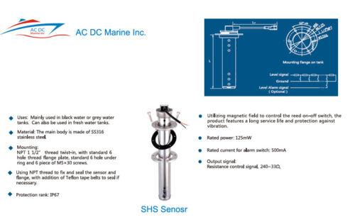 "Holding Tank Sending  240-33 ohm 10.5/"" Kus Boat Black Water Level Sensor"