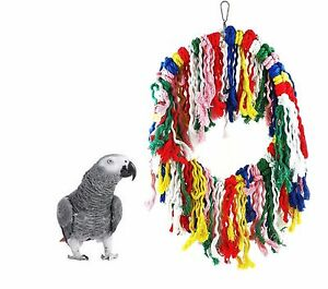 30-CM-LARGE-COTTON-PARROT-AFRICAN-GREY-AMAZON-PREENING-CAGE-TOY-SWING-LBT319