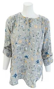 LOFT-OUTLET-Woven-Floral-Rolled-Long-Sleeve-Blouse-Top