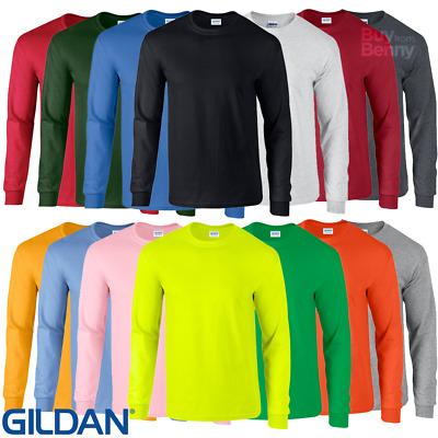 Gildan MEN/'S LONG SLEEVE T-SHIRT COTTON NEON PLAIN COLOURS S-2XL CASUAL BASIC