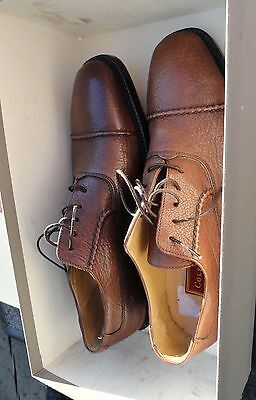 Cole Haan Mens Nutmeg Brown Dress Textured Leather Shoes Size 7D  Made in Italy