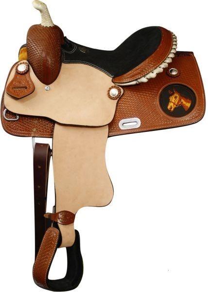 13  Jóvenes Niños Pista de carreras de barril occidental de cuero Pony mostrar Silla Con Cordones Cantle
