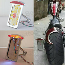 Chrome Vertical Side Mount Motorcycle License Plate Bracket Holder Brake Light