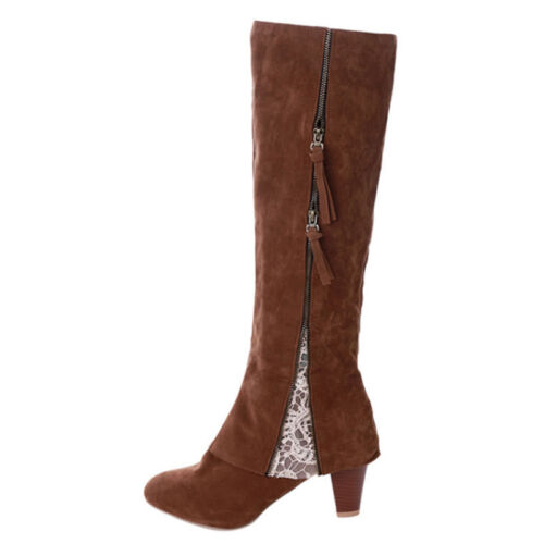 WOMENS MIDI BOOTS LADIES FLAT LOW HEEL KNEE HIGH THIGH STRETCH WINTER WARM SHOES
