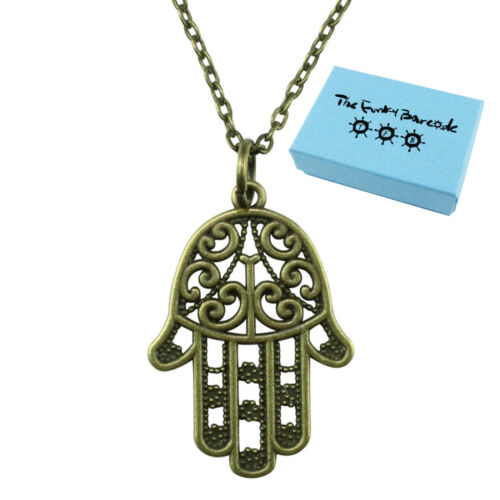 TFB HAMSA HAND NECKLACE Gift Relgion Spiritual Kitsch Belief Funky Fun Quirky
