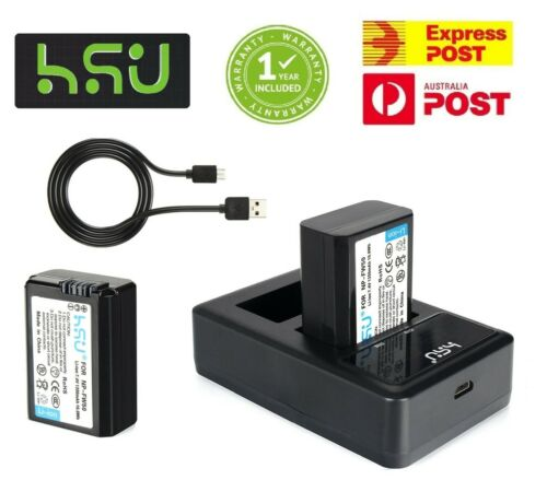 HSU NP-FW50 Battery x2 /& Charger for SONY Alpha A5000,A5100,A6000,A6300,A6500