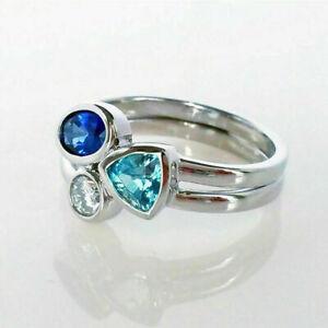 Cute-925-Silver-Wedding-Rings-Women-Ring-Size-6-10-Aquamarine-amp-Sapphire