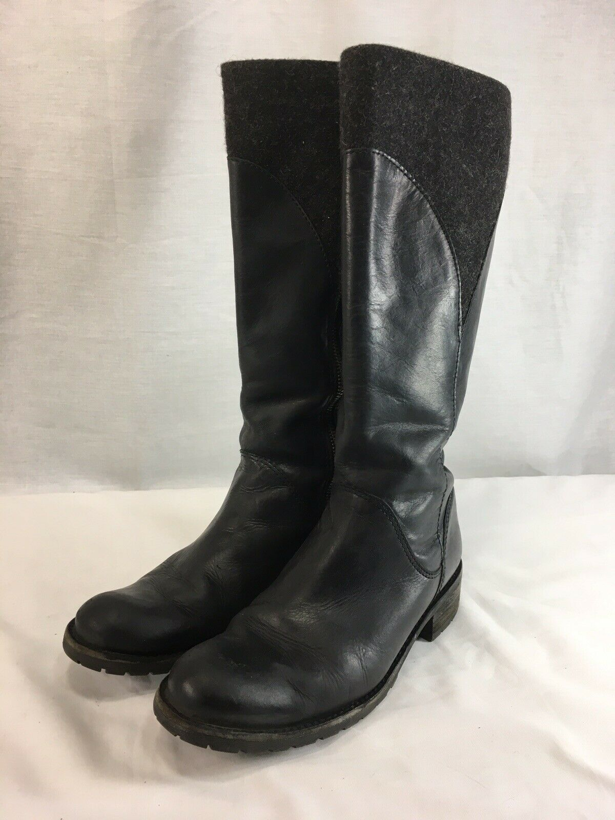 LL Bean Riding Boots Womens 7 M Black Leather Wool 15  Tall Side Zip