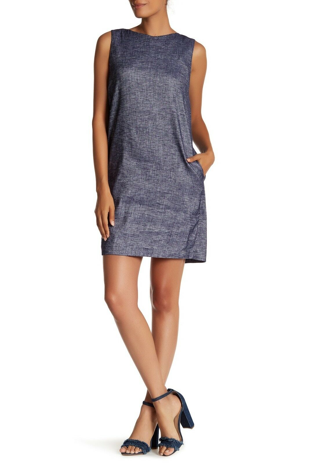 NWT Theory Narlica Sleeveless Linen Blend Shift Dress Deep Denim Größe 4