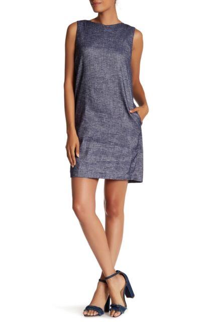 7e40d664b81 NWT  345 Theory Narlica Sleeveless Linen Blend Shift Dress Deep Denim Size  10