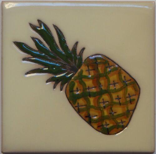 Mexican Tile Malibu Fruits Santa Barbara Tiles Cuerda Seca Pineapple  F-03